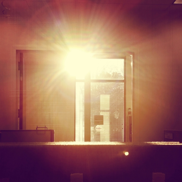 Sun, morning, office, cubicle